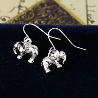 Silver Elephant Drop Earrings