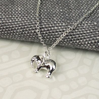 Silver Chain Elephant Necklace