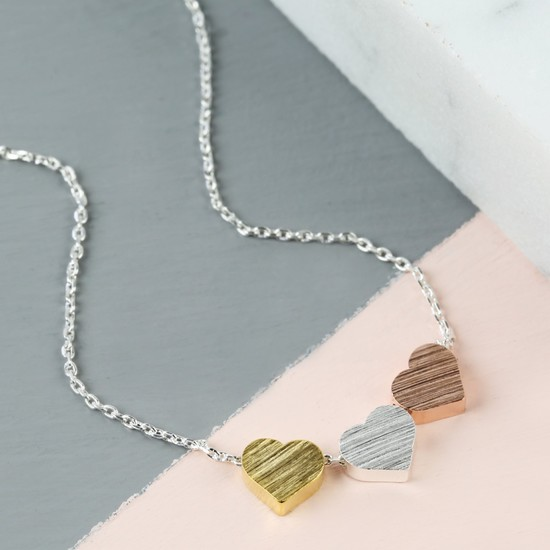 brushed-mixed-metal-triple-heart-necklace-O21A023-550×550