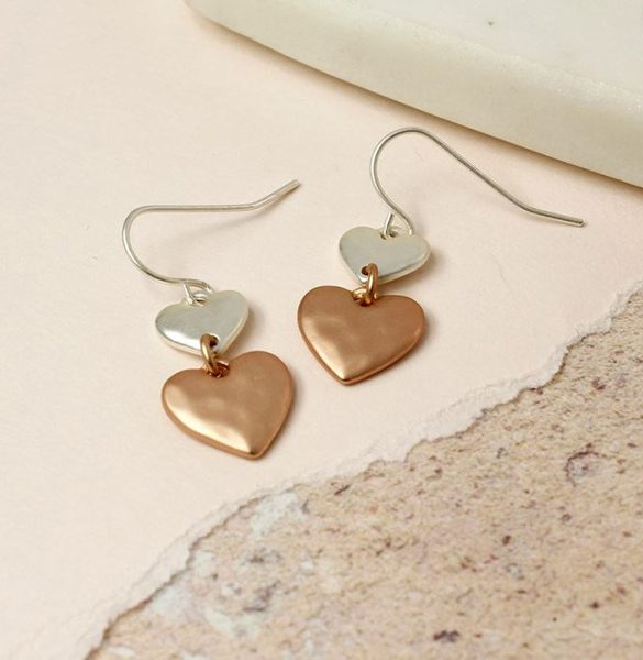 d-silver_and_rose_gold_matt_heart_earrings